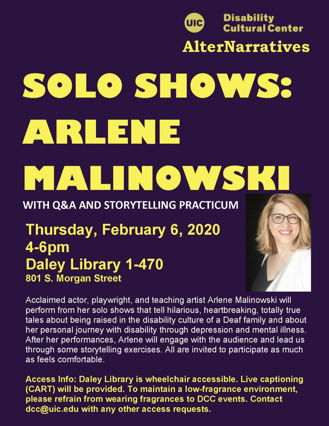 Solo Shows: Arlene Malinowski flyer