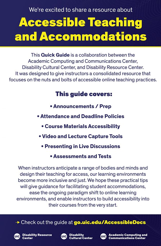 Accessible Teaching and Accommodations flyer