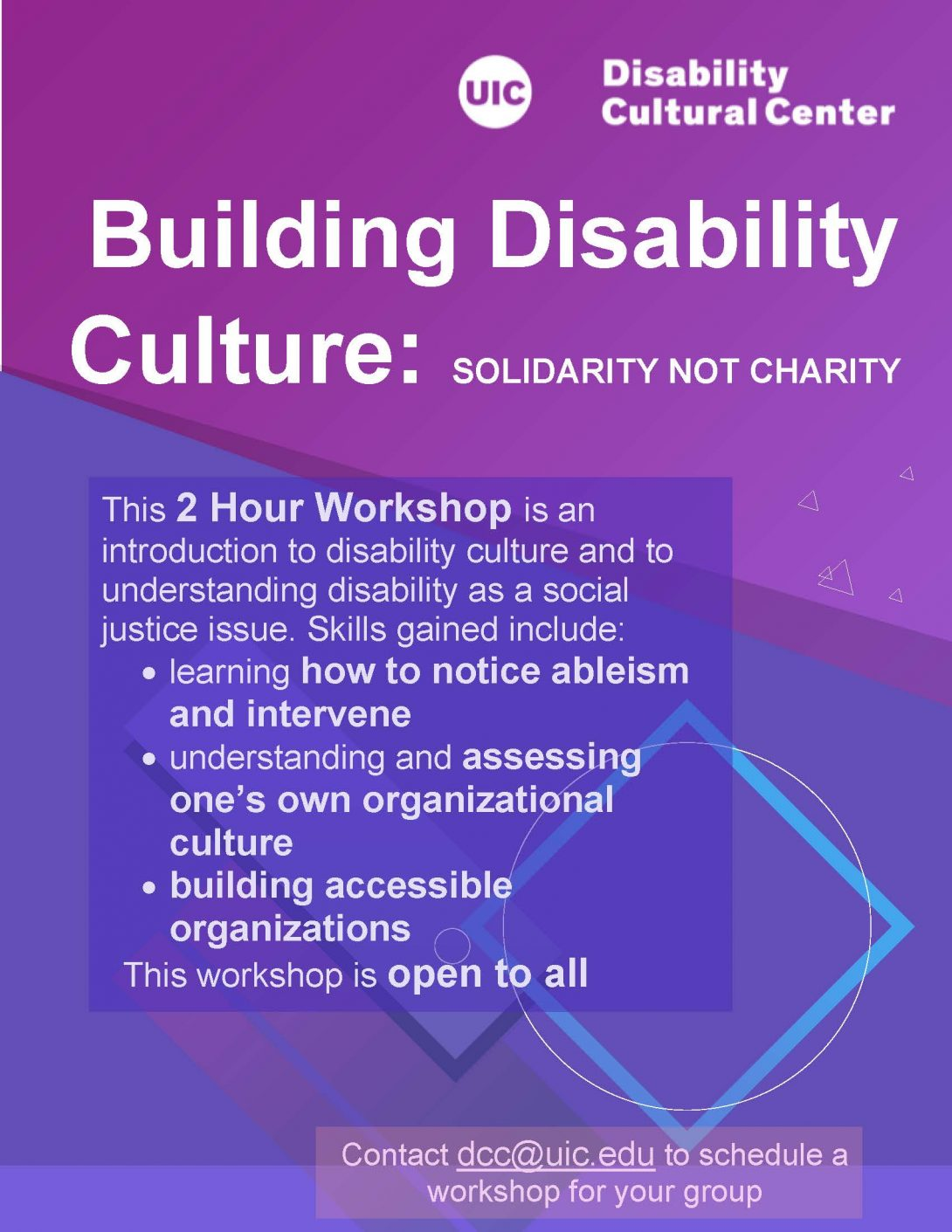 Building Disability Culture: Solidarity Not Charity flyer