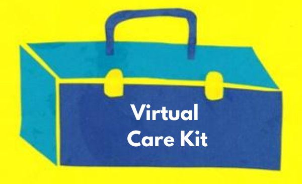 A blue paper cut out toolbox is over a yellow background with white text