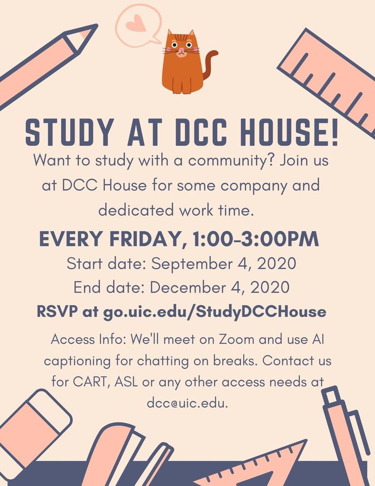Flyer for Study at DCC House, ID in caption