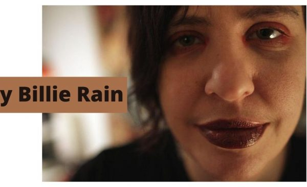 Photo of Billie Rain with text