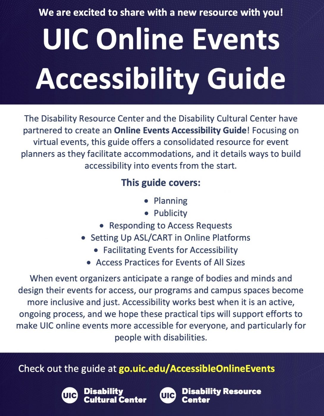 UIC Accessible Online Events Guide announcement flyer
