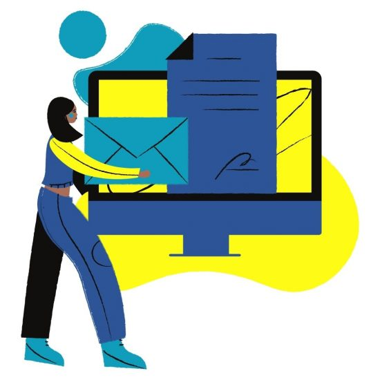 A blue cartoon woman carries a blue envelope to a larger than life computer.