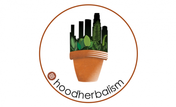 Hood Herbalism logo of a cityscape growing out of a terracotta pot