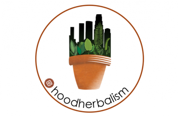 Hood Herbalism logo of a cityscape growing out of a flower pot.