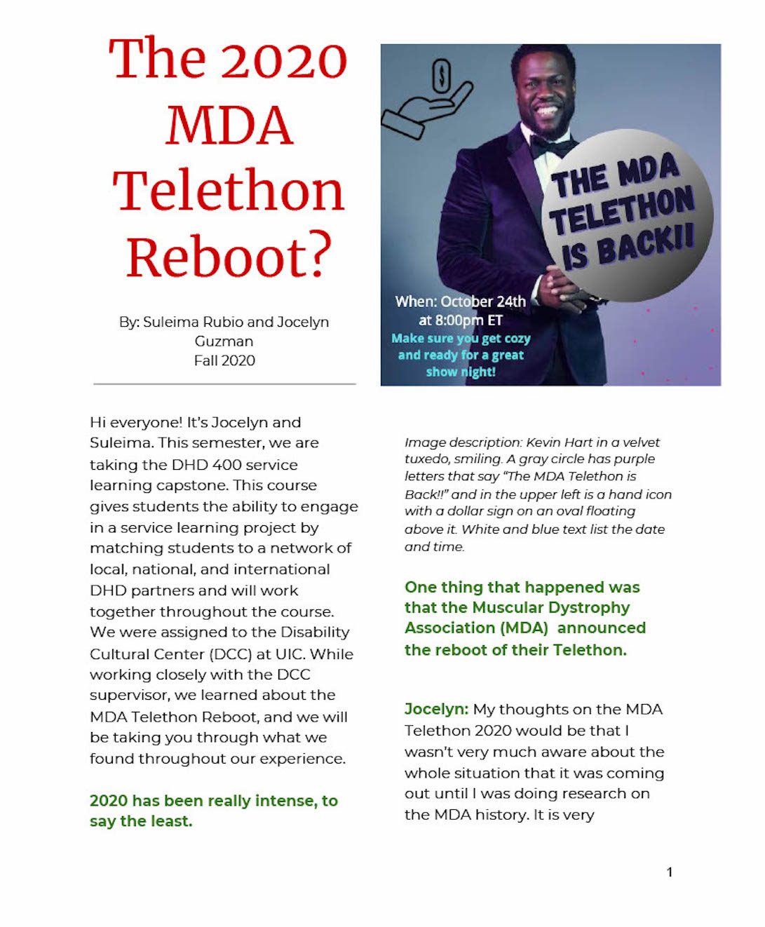 Page 1 preview of the MDA Telethon Reboot Article
