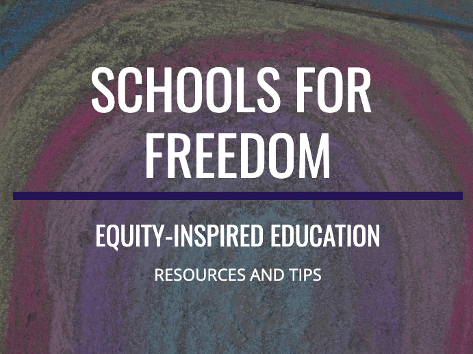 Schools For Freedom banner, with chalk rainbow background