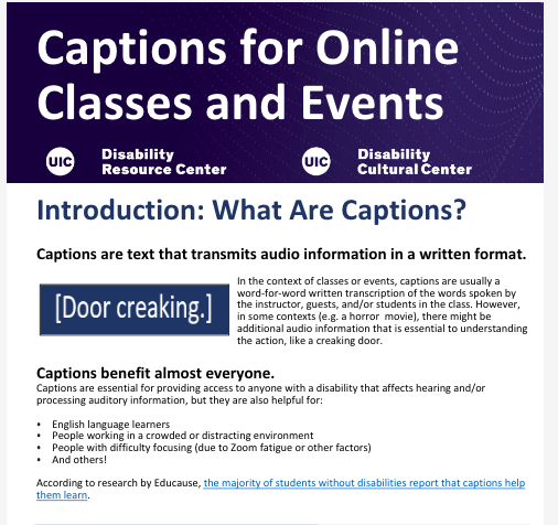 Captions for Online Classes and Events, first page