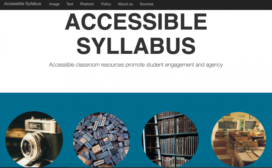 Accessible Syllabus site with four round icons for image, text, rhetoric, policy