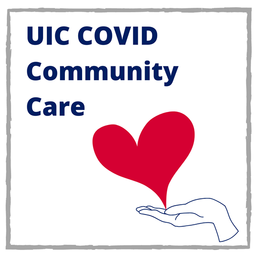 UIC COVID Community Care with a red heart growing from the palm of a hand